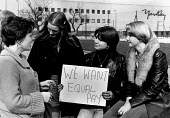 Women on strike for equal pay, Yardley cosmetics factory, Basildon 1977. An Industrial Tribunial rejected their claim for equal pay with men also packing cosmetic products - John Sturrock - 1970s,1977,claim,cosmetics,dispute,disputes,employee,employees,Employment,equal pay,Equal Rights,equality,FACTORIES,factory,FEMALE,industrial dispute,job,jobs,LBR,member,member members,members,packing