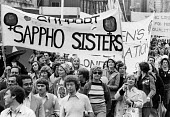 Support Sappho Sisters, Gay Pride march 1977 protesting for equal rights for homosexuals London - John Sturrock - 1970s,1977,activist,activists,banner,banners,Campaign for Homosexual Equality,CAMPAIGNING,CAMPAIGNS,CELEBRATE,celebrating,CHE,DEMONSTRATING,Demonstration,DEMONSTRATIONS,equal,equal rights,equality,fem