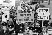 FBU, protest against public service cuts London 1977 - John Sturrock - 1970s,1977,activist,activists,adult,adults,against,anti,CAMPAIGNING,CAMPAIGNS,cuts,DEMONSTRATING,Demonstration,FBU,fire brigade,firefighter,firefighters,fireman,firemen,London,male,man,member,member m