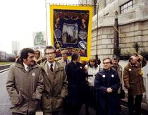 GCHQ protest Cheltenham 1984 Ken Cameron Gen Sec FBU and Rodney Bickerstaffe Gen Sec NUPE, Civil Rights for Civil Servants march in support of trade union rights at GCHQ banned by the Conservative Gov... - Stefano Cagnoni - 28-02-1984