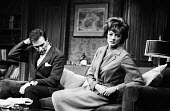 Mary Mary by Jean Kerr, Queens Theatre London 1963 starring Maggie Smith and Donald Harron - Alex Low - 1960s,1963,ACE,acting,actor,actors,actress,actresses,Arts,Culture,drama,DRAMATIC,entertainment,FEMALE,London,Maggie Smith,male,man,Mary,men,people,person,persons,play,playing,plays,stage,theatre,THEAT
