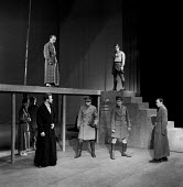 1957 Joan Littlewood Theatre Workshop production of Macbeth with Glynn Edwards, Richard Harris (R) and Dudley Foster (R) Theatre Royal Stratford East London - Alan Vines - 09-03-1957