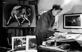 Walter Hoyle painter one of the Great Bardfield Artists 1958. The Great Bardfield Artists were a community of artists who lived in Great Bardfield, a village in north west Essex. They lived together d... - Alan Vines - 03-07-1958