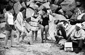Holidaymakers on the beach, annual summer holiday Devon 1959 - Alan Vines - 13-08-1959