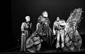 RSC 1959 production of KIng Lear by William Shakespeare directed by Glen Byam Shaw. From L to R actors Cyril Luckham, Charles Laughton as King Lear and Albert Finney - Alan Vines - 1950s,1959,ACE,acting,actor,actors,Albert Finney,Arts,Charles Laughton,Classic,Culture,Cyril LUckham,drama,DRAMATIC,GB Shaw,King Lear,maker,makers,making,male,man,men,people,person,persons,play,PLAYIN