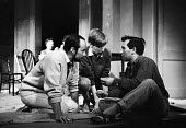Director John Dexter in discussion with Arnold Wesker, rehearsal of The Kitchen by Arnold Wesker, The Theatre Upstairs at the Royal Court London 1959 - Alan Vines - 1950s,1959,ACE,acting,actor,actors,adult,adults,Arnold Wesker,Arts,author,authors,Christopher Sandford,communicating,communication,conversation,conversations,Court,Culture,Dexter,dialogue,directing,di