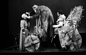 RSC 1959 KIng Lear by William Shakespeare directed by Glen Byam Shaw. (L to R) Cyril Luckham, Charles Laughton as King Lear and Albert Finney - Alan Vines - 1950s,1959,ACE,acting,actor,actors,Albert Finney,Arts,Charles Laughton,Classic,Culture,Cyril Luckham,drama,DRAMATIC,GB Shaw,King Lear,male,man,men,people,person,persons,play,PLAYING,plays,Royal Shakes