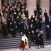 State Funeral of Sir Winston Churchill St Pauls Cathedral London 1965 HRH Queen Elizabeth II with Prince Philip, behind them The Queen Mother and Prince Charles then Princess Margaret and Lord Snowdon... - Bert Hardy - 30-01-1965