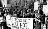 Clay Cross councillors protest at the Law Courts, The Strand, London 1973 against the surcharge laid against them for refusing to implement the Housing Finance Act and raise council rents by 1 per wee... - Chris Davies - 1970s,1973,activist,activists,against,banner,banners,CAMPAIGN,campaigner,campaigners,CAMPAIGNING,CAMPAIGNS,cities,City,Clay Cross,council,COUNCILER,COUNCILERS,councillor,councillors,councilor,councilo