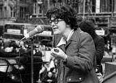 Audrey Wise MP speaking, NUS rally campaig for higher student grants Trafalgar Square, London 1974 - Chris Davies - 1970s,1974,activist,activists,against,Audrey Wise,CAMPAIGN,campaigner,campaigners,CAMPAIGNING,CAMPAIGNS,cities,City,demonstrate demonstrating,DEMONSTRATING,Demonstration,DEMONSTRATIONS,FEMALE,Labour P