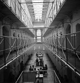 Interior of Holloway Womens Prison 1959 - Malcolm Aird - 1950s,1959,cell,cells,CLJ,crime,female,HMP Holloway,Holloway,Holloway Prison,imprisonment,incarcerated,incarceration,inmate,inmates,jail,jailed,jails,justice,landing,law,penal system,penitentiary,peop