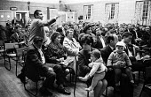 National Seamens strike meeting Victoria and Albert Dock, London 1966. Trade union members supported by their wives and children - Patrick Eagar - 20-05-1966