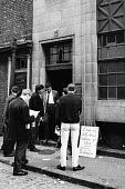 National Seamens strike 1966, queueing to collect their strike pay, NUS office London - Patrick Eagar - 20-05-1966