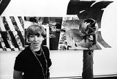 Artist E R Nele, Hanover Gallery London 1966, sculptor and graphic designer at her one woman exhibition - Patrick Eagar - 18-06-1966