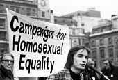 Gay Pride rally Trafalgar Square London 1974, Derek Ogg speaking for equal rights for homosexuals - Peter Harrap - 1970s,1974,activist,activists,against,banner,banners,CAMPAIGN,Campaign for Homosexual Equality,campaigner,campaigners,CAMPAIGNING,CAMPAIGNS,CELEBRATE,celebrating,CHE,cities,City,DEMONSTRATING,Demonstr