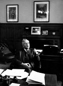 Harold Wilson in his office, Houses of Parliament, London 1964 prior to the General Election - Romano Cagnoni - 1960s,1964,Harold Wilson,Houses,Labour Party,London,male,man,men,MP,MPs,Parliament,people,person,persons,pipe,pipes,politician,politicians,Wilson