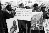 Supporters of Biafran struggle for independence protest London 1968 against British arms sales to Nigeria used to kill civilians in the conflict - Romano Cagnoni - 05-04-1968