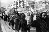 Supporters of Biafran struggle for independence protest London 1968 against British arms sales to Nigeria used to kill civilians in the conflict and against alleged media bias from the BBC coverage of... - Romano Cagnoni - 05-04-1968
