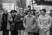 FBU demonstration in Liverpool against cuts to the Fire Service threatened by abolition of the Metropolitan Councils by Conservative Government. (L to R) Terry Fields, Bill Deal, Pres FBU, Ken Cameron... - John Smith - 21-01-1986