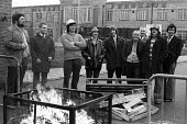 Massey Ferguson strike, Coventry, 1975. Picket line at the plant in Banner Lane on strike over a pay dispute. - John Sturrock - 1970s,1975,AEU,DISPUTE,DISPUTES,FACTORIES,factory,industrial dispute,industrial relations,man men,Massey Ferguson,member,member members,members,Occupation Occupying,Occupy Occupying,pay rate pay rates