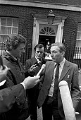 Len Murray TUC being interviewed outside 10 Downing Street London 1974 after meeting Harold Wilson. Giles Smith, ITN industrial correspondent (L) Ian Ross, BBC industrial correspondent (C) - NLA - 15-10-1974