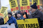 Cut fares not guards, RMT protest, Kings Cross station, London - Jess Hurd - 2010s,2018,activist,activists,CAMPAIGNING,CAMPAIGNS,Day of Action,DEMONSTRATING,demonstration,fare increase,fares,guard,guards,high fares,increases,job loss,Job Losses,jobs,Kings Cross,London,loss,los
