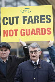 Mick Cash, Cut fares not guards, RMT protest, Kings Cross station, London - Jess Hurd - 2010s,2018,activist,activists,CAMPAIGNING,CAMPAIGNS,Cash,Day of Action,DEMONSTRATING,demonstration,fare increase,fares,guard,guards,high fares,increases,job loss,Job Losses,jobs,Kings Cross,London,los
