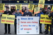 Mick Cash, Cut fares not guards, RMT protest, Kings Cross station, London - Jess Hurd - 2010s,2018,activist,activists,CAMPAIGNING,CAMPAIGNS,Cash,Day of Action,DEMONSTRATING,demonstration,EARNINGS,fare increase,fares,guard,guards,high fares,Income,increases,inequality,job loss,Job Losses,