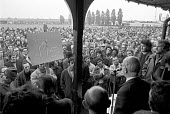 Hugh Scannon speaking to mass meeting of workers AEC Southall, London 1974, makers of London buses, occupying the factory for a wage rise and against closure - NLA - 09-10-1974