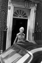 Lady Falkender (Marcia Williams) private secretary to Harold Wilson leaving 10 Downing Street, London 1974 - NLA - 15-10-1974