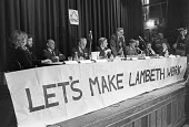 London 1981 Lambeth public meeting against rate capping, Leader of the council Ted Knight speaking - NLA - 1980s,1981,against,banner,banners,campaign,campaigning,CAMPAIGNS,council,COUNCILER,COUNCILERS,councillor,councillors,councilor,councilors,democracy,Labour Party,Lambeth,Leader,local,Local Authority,Lo