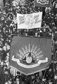 London 1984 FBU, protest against the abolition of the GLC with anti Thatcher banner Save our Jobs give up yours - NLA - 29-03-1984