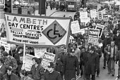 London 1981 Lambeth council workers protest against cuts to council services - NLA - 1980s,1981,activist,activists,against,anti,banner,banners,campaign,campaigning,CAMPAIGNS,cmwu,council,council workers,Cuts,day care,democracy,DEMONSTRATING,Demonstration,direct labour,Disabled People