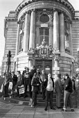 Council workers protest outside Lambeth Town Hall, London 1981 campaign against rate capping and government cuts to services - NLA - 1980s,1981,activist,activists,against,Anti privatisation,Anti privatisation,anti privatization,BAME,BAMEs,BEMM,BEMMS,Black,Black and White,BME,bmes,campaign,campaigning,CAMPAIGNS,council,COUNCILER,COU
