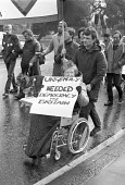 Demonstration in Brixton, Lambeth, against the rate-capping plans and the cuts to services forced on councils by the Thatcher government. - NLA - 1980s,1984,activist,activists,against,bound,campaign,campaigning,CAMPAIGNS,council,cuts,democracy,DEMONSTRATING,Demonstration,disabilities,disability,disable,disabled,Disabled People Against Cuts,disa