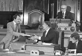 Ken Livingstone handing in his resignation at a GLC council meeting to force a byelection on the issue of abolition of the GLC by the The Local Government Act 1985 - NLA - 02-08-1984