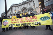 RMT picket line, dispute over safety and guards on trains, Waterloo Station London. Mick Cash RMT Gen Sec - Jess Hurd - 2010s,2018,BAME,BAMEs,banner,banners,BEMM,BEMMS,Black,Black and White,BME,bmes,Cash,dispute,disputes,diversity,DOO,Driver only operation,ethnic,ethnicity,guards,Industrial dispute,London,member,member