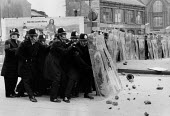 Police with riot shields. Riot as NF hold a youth rally, Digbeth, Birmingham 1978 - David Mansell - 18-02-1978
