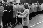 Police using riot sheilds for the first time in mainland UK. Protest against NF public metting during Bye election, Ladywood, Birmingham - David Mansell - 08-08-1977