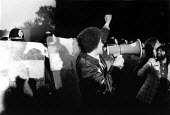 Police using riot sheilds for the first time in mainland UK. Protest against NF public metting during Bye election, Handsworth, Birmingham - David Mansell - 08-08-1977