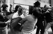 NF and ant facist protestors fighting, Lewisham London 1977 Police struggling to make arrests - David Mansell - 1970s,1977,activist,activists,adult,adults,against,ALCARAF,Anti Fascist,ARAFCC,BAME,BAMEs,Black,Black and White,BME,bmes,burn,burning,BURNS,campaigner,campaigners,CAMPAIGNING,CAMPAIGNS,cities,City,DEM
