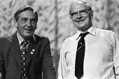 TUC Gen Sec Len Murray and Jack Jones Gen Sec TGWU enjoying a lighter moment together, TUC conference Blackpool 1975 - Chris Davies - 1970s,1975,Conference,conferences,EMOTION,EMOTIONAL,EMOTIONS,enjoying,ENJOYMENT,Gen Sec,HAPPINESS,happy,Jack Jones,Len Murray,member,member members,members,smile,SMILES,smiling,TGWU,trade union,trade