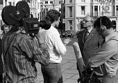 Jack Jones TGWU being interviewed by TV News crew TUC Conference Brighton 1976 - Chris Davies - 1970s,1976,camera,camera crew,cameraman,cameras,communicating,communication,Conference,conferences,crew,Gen Sec,interview,INTERVIEWED,INTERVIEWER,interviewing,interviews,Jack Jones,journalism,journali