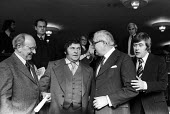 TGWU retirement event to bid to farewell to Jack Jones, Royal Festival Hall London 1978. Jack Jones (L), comedian Les Dawson (C) Prime Minister James Callaghan and comedian Mike Yarwood (R) - John Sturrock - 1970s,1978,CELEBRATE,CELEBRATING,celebration,CELEBRATIONS,COMMEMORATE,COMMEMORATING,commemoration,COMMEMORATIONS,Festival,FESTIVALS,Gen Sec,Jack Jones,Jim Callaghan,Les Dawson,London,member,member mem