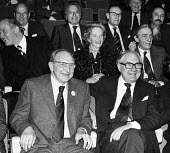 TGWU retirement event to bid to farewell to Jack Jones, Royal Festival Hall London 1978 Jack Jones enjoying a joke seated beside Prime Minister James Callaghan - John Sturrock - 1970s,1978,Callaghan,CELEBRATE,CELEBRATING,celebration,CELEBRATIONS,COMMEMORATE,COMMEMORATING,commemoration,COMMEMORATIONS,EMOTION,EMOTIONS,enjoying,ENJOYMENT,Festival,FESTIVALS,Gen Sec,HUMOUR,Jack Jo