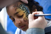 Stand up for Education day, NUT, Loughborough, Leicestershire - John Harris - 2010s,2015,Asian,Asians,BAME,BAMEs,Black,BME,bmes,diversity,Education,ethnic,ethnicity,Face paint,Face Painting,member,member members,members,minorities,minority,NUT,people,POC,Trade Union,Trade Union