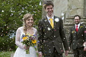 Alison and Fred Buxton wedding, bride and groom, confetti - John Harris - 29-04-2017