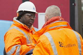 Carillion liquidation has put thousands of jobs at risk. Work has stopped on the 700 million Paradise redevelopment in Birmingham city centre - John Harris - 2010s,2018,administration,BAME,BAMEs,bankrupt,bankruptcy,Birmingham,Black,Black and White,BME,bmes,building site,Carillion,cities,City,City centre,communicating,communication,Construction Industry,con