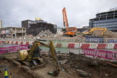 Carillion liquidation putting thousands of jobs at risk. Work has stopped on the 700 million Paradise redevelopment in Birmingham city centre - John Harris - 2010s,2018,administration,bankrupt,bankruptcy,Birmingham,Brownfield Site,building site,Carillion,cities,City,City centre,Construction Industry,developer,developers,digger,diggers,EBF,Economic,Economy,