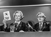 Margaret Thatcher holding up the Conservative Manifesto for Europe 1979, EEC election campaign press conference (R) Geoffrey Howe MP - Martin Mayer - 18-05-1979